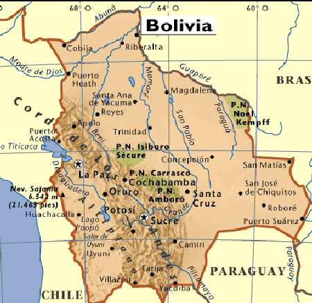 Altiplano - Bolivia cities map